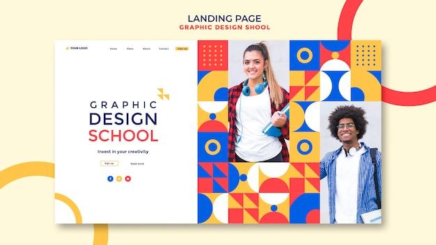 Modelo de página de destino de escola de design gráfico