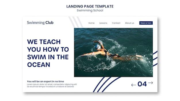 Modelo de página de destino de escola de natação
