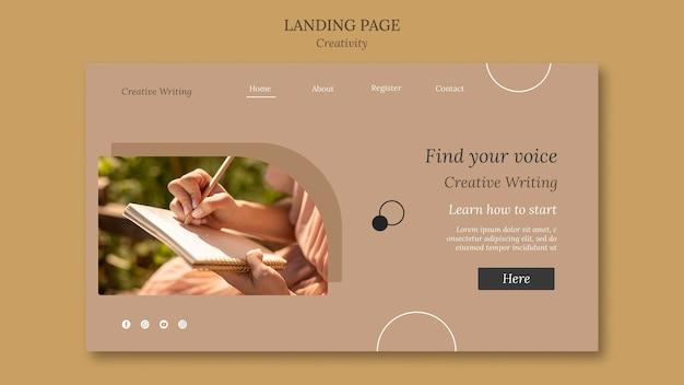 Modelo de página de destino de escrita criativa