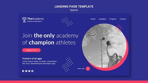 Modelo de página de destino de esportes