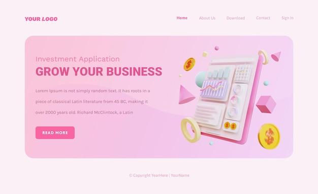 Modelo de página de destino de estatísticas de marketing com gráficos 3d