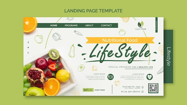 Modelo de página de destino de estilo de vida de alimentação saudável