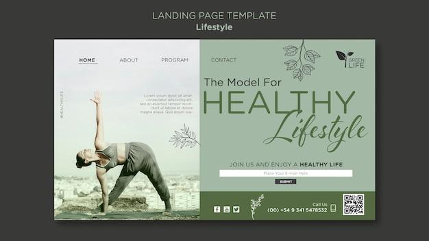 Modelo de página de destino de estilo de vida saudável