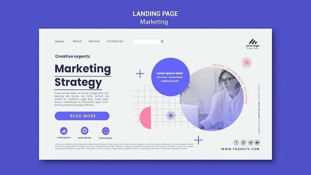 Modelo de página de destino de estratégia de marketing