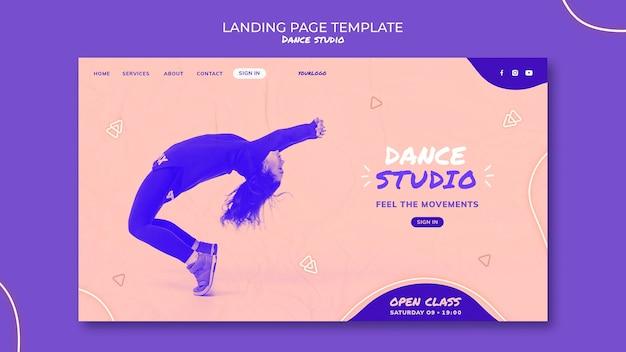 Modelo de página de destino de estúdio de dança