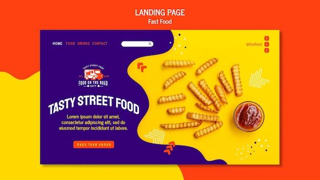 Modelo de página de destino de fast food