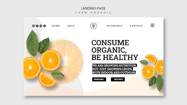 Modelo de página de destino de fazenda orgânica
