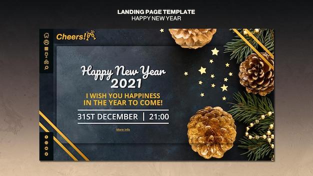 Modelo de página de destino de feliz ano novo de 2021