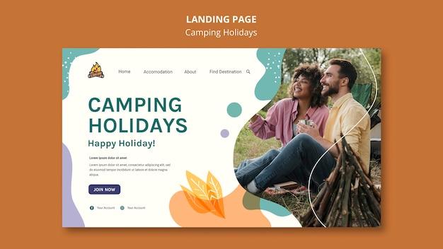 Modelo de página de destino de férias em acampamento