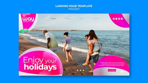 Modelo de página de destino de férias