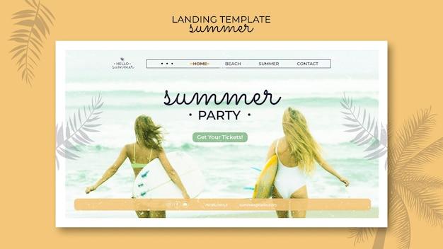 Modelo de página de destino de festa na praia de verão