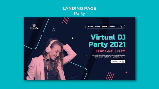 Modelo de página de destino de festa online
