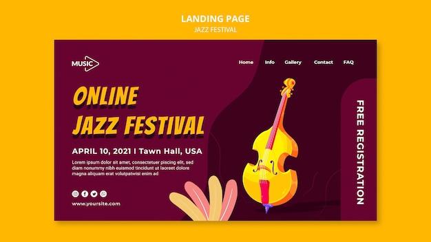 Modelo de página de destino de festival de jazz online Psd grátis