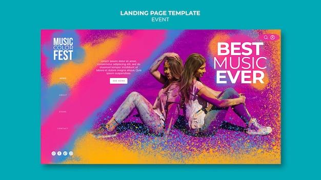Modelo de página de destino de festival de música