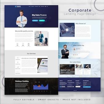 Modelo de página de destino de finanças corporativas