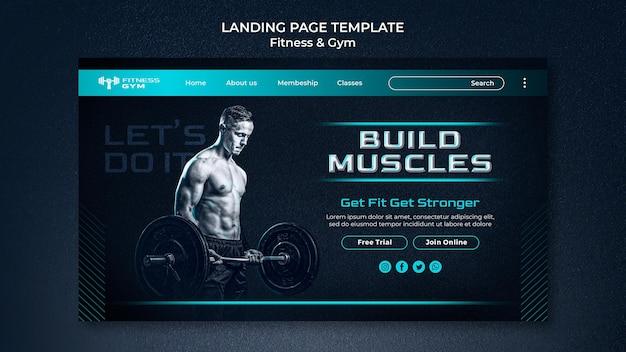 Modelo de página de destino de fitness de academia