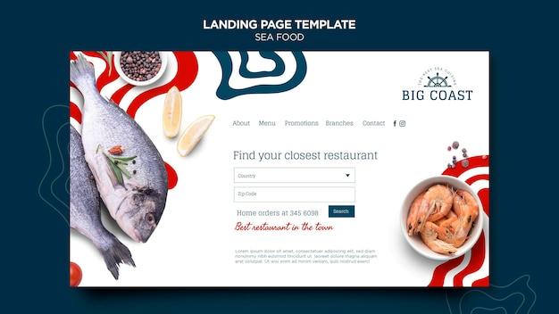 Modelo de página de destino de frutos do mar Psd Premium