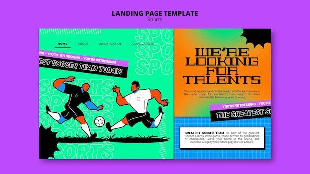 Modelo de página de destino de futebol com ilustração vibrante