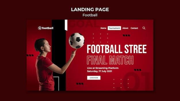 Modelo de página de destino de futebol feminino