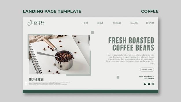 Modelo de página de destino de grãos de café
