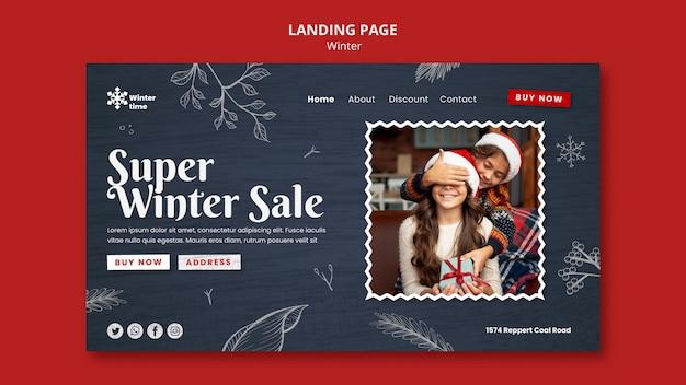 Modelo de página de destino de guarda-roupa de inverno