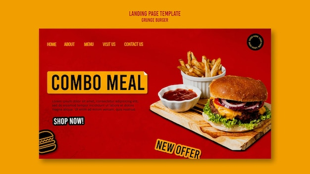 Modelo de página de destino de hambúrguer grunge