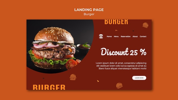Modelo de página de destino de hambúrguer
