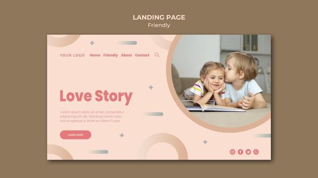 Modelo de página de destino de história de amizade de amor