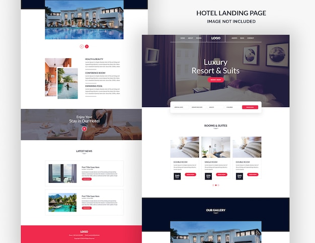 Modelo de página de destino de hotéis e resorts
