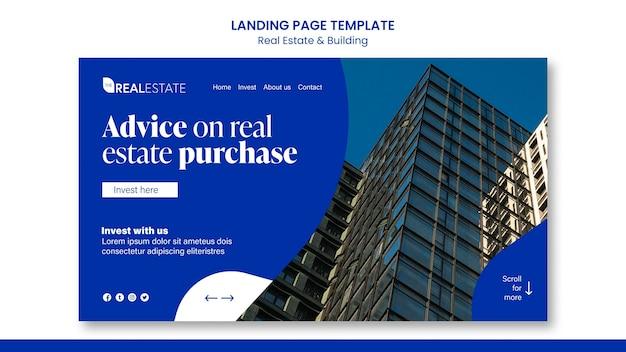Modelo de página de destino de imóveis e construção