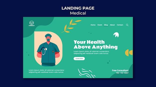 Modelo de página de destino de importância para a saúde