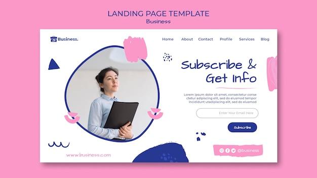 Modelo de página de destino de informações comerciais