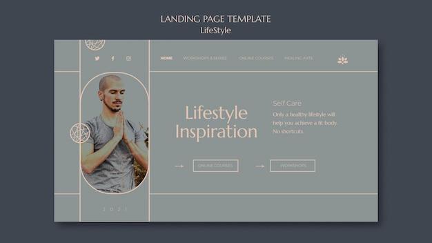 Modelo de página de destino de inspiração de estilo de vida com foto