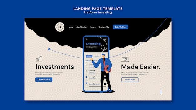 Modelo de página de destino de investimento em plataforma