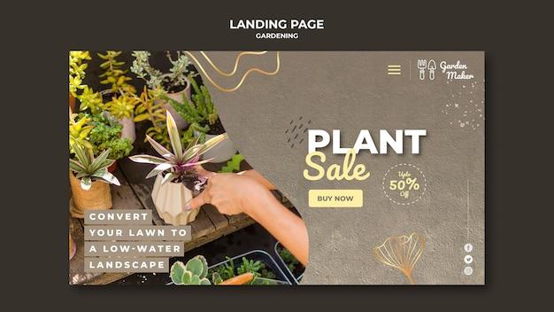 Modelo de página de destino de jardinagem