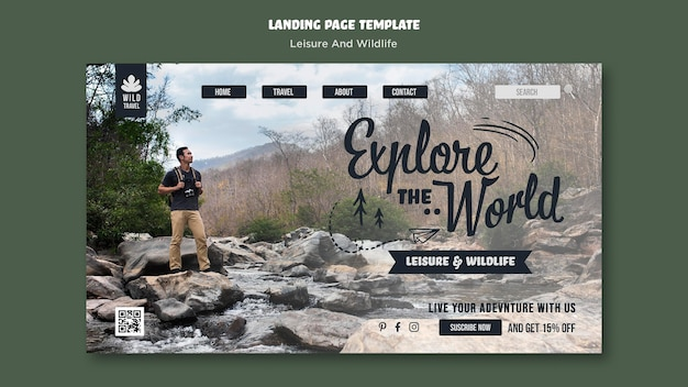 Modelo de página de destino de lazer e vida selvagem