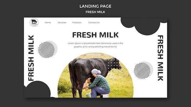 Modelo de página de destino de leite fresco com foto