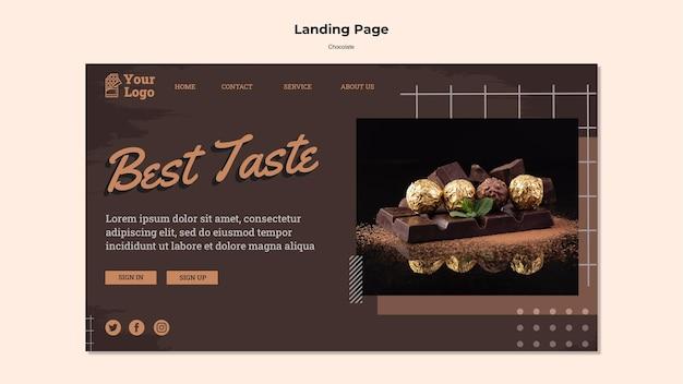Modelo de página de destino de loja de chocolates