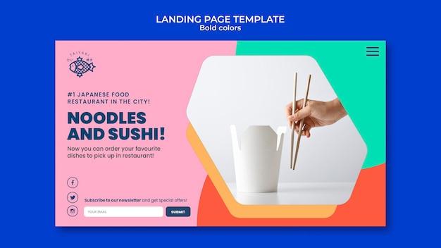 Modelo de página de destino de macarrão com cores em negrito