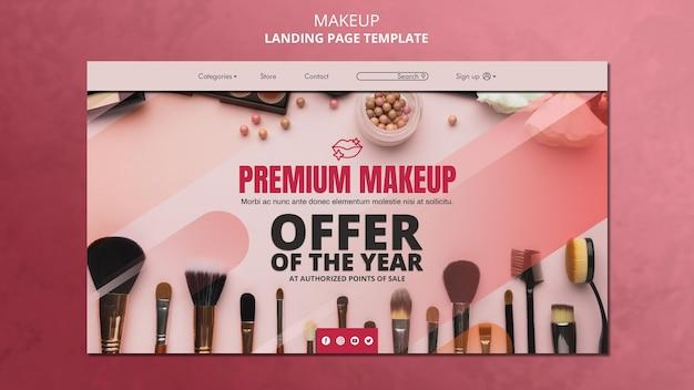 Modelo de página de destino de maquiagem