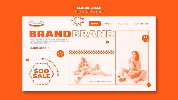Modelo de página de destino de marca de roupas vintage
