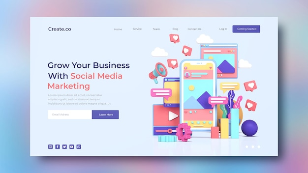 Modelo de página de destino de marketing de mídia social