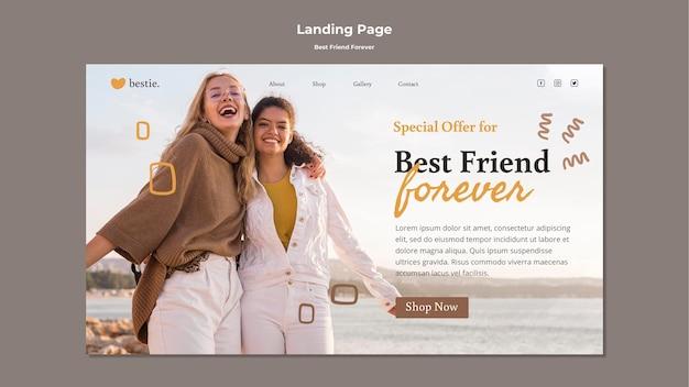Modelo de página de destino de melhores amigos para sempre