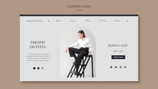 Modelo de página de destino de moda com foto