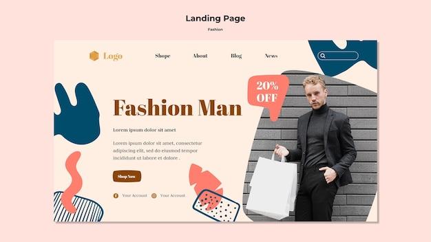 Modelo de página de destino de moda homem