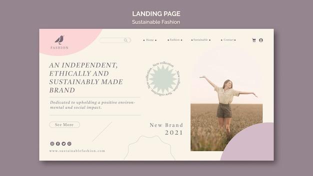 Modelo de página de destino de moda sustentável