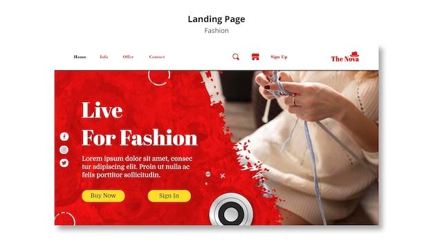 Modelo de página de destino de moda