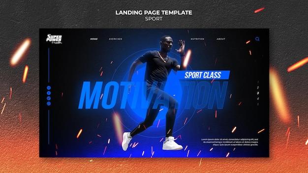 Modelo de página de destino de motivação para esportes