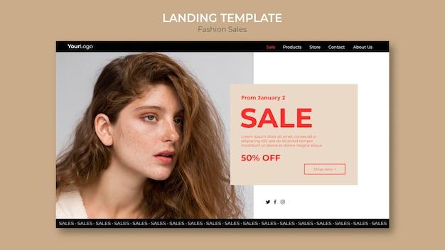 Modelo de página de destino de mulher com retrato de venda de moda