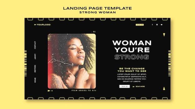 Modelo de página de destino de mulher forte